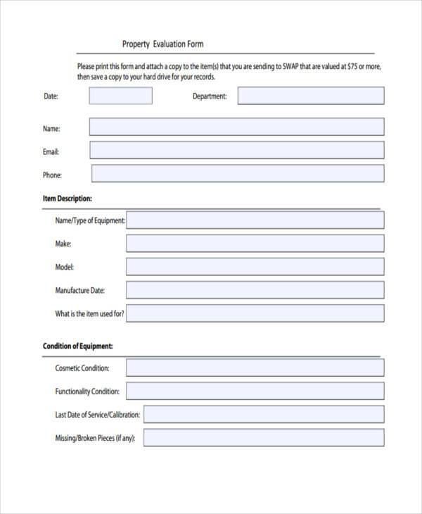 property evaluation form in pdf