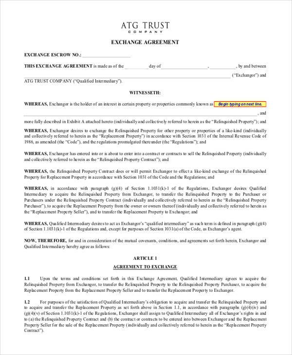 Exchange Agreement Form Samples  Free Sample Example Format