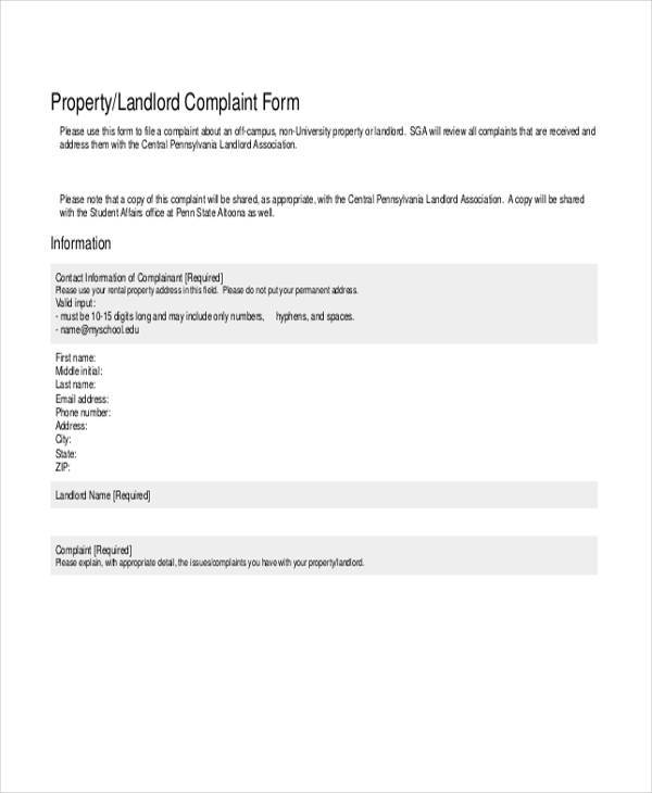 property landlord complaint form1