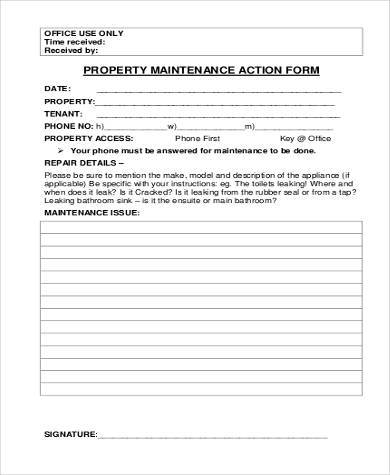 property maintenance action form