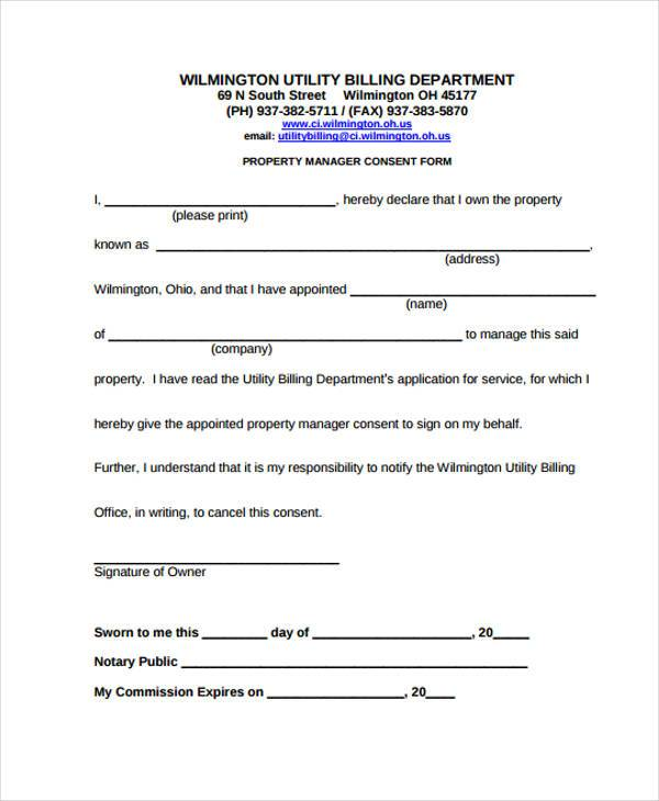 property manager consent form