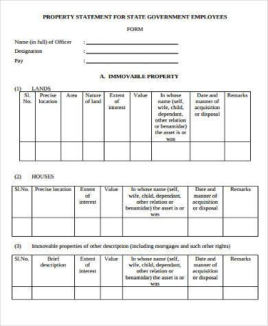 Sample Property Statement Forms   Free Documents In Word Pdf