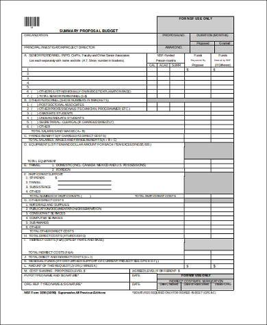 proposal budget form in doc