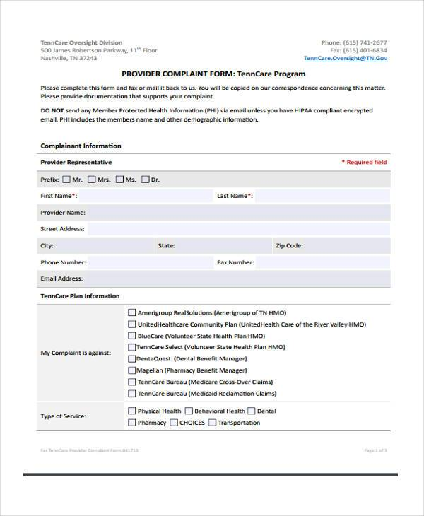 Medicare Complaint Form Samples  Free Sample Example Format