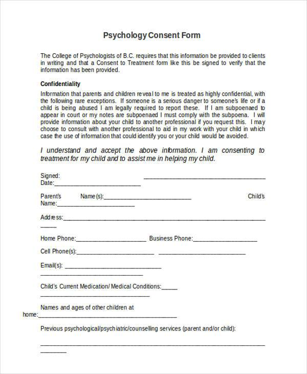 psychology consent form in doc