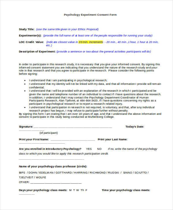 psychology experiment consent form