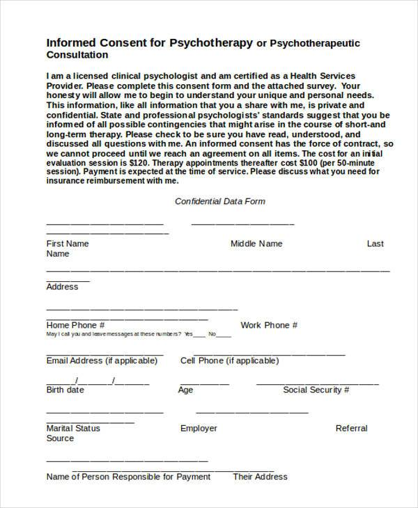 Sample Psychology Consent Forms   Free Documents In Word Pdf