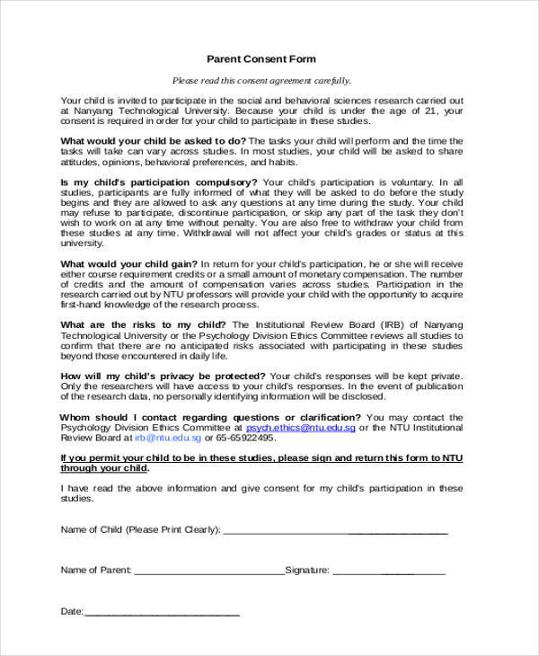 psychology parental consent form