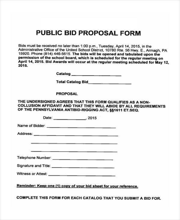 Bid Proposal Form Samples  Free Sample Example Format Download