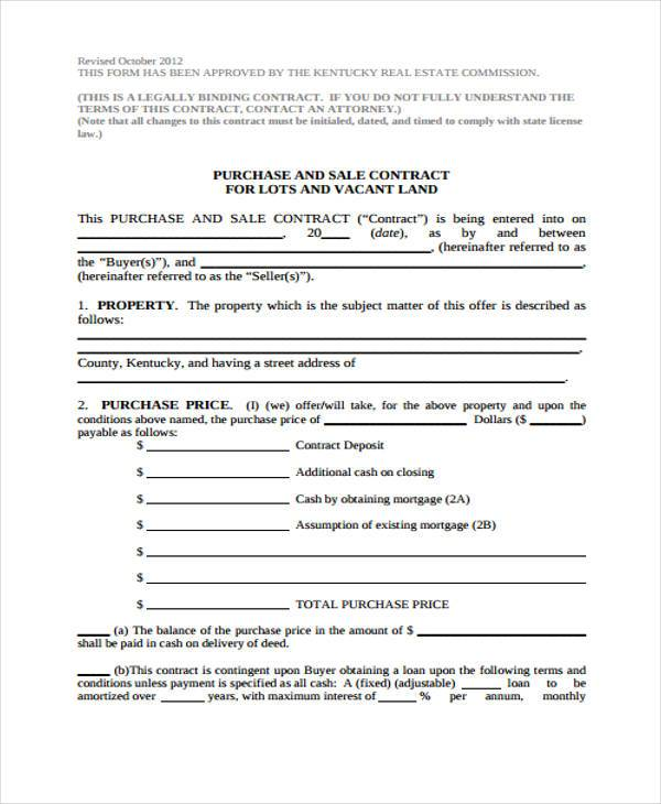 Purchase Contract Form Samples  Free Sample Example Format
