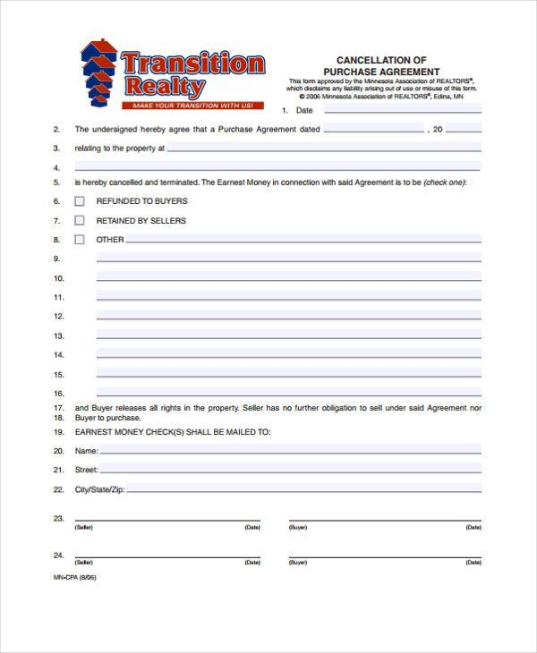 purchase contract cancellation agreement form