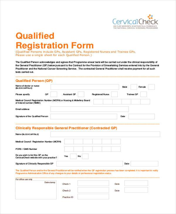 qualified customer registration form
