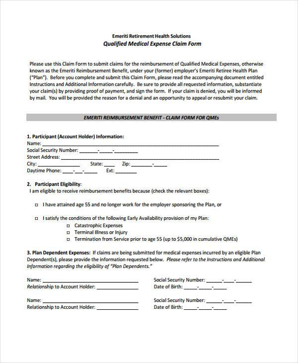 Sample Medical Expense Forms 8 Free Documents in Word PDF – Sample Medical Claim Form