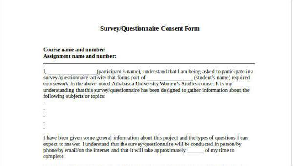 Free Sample Study Set: 7+ Questionnaire Consent Form Samples