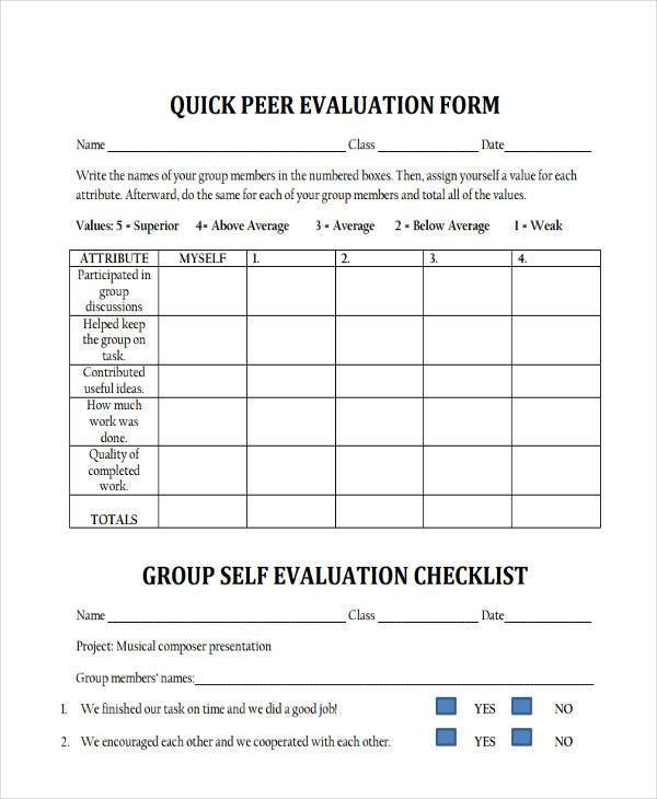 Peer Evaluation Form Samples  Free Sample Example Format