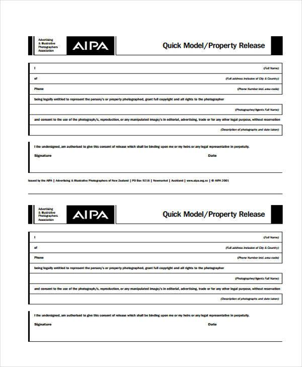 quick property release form