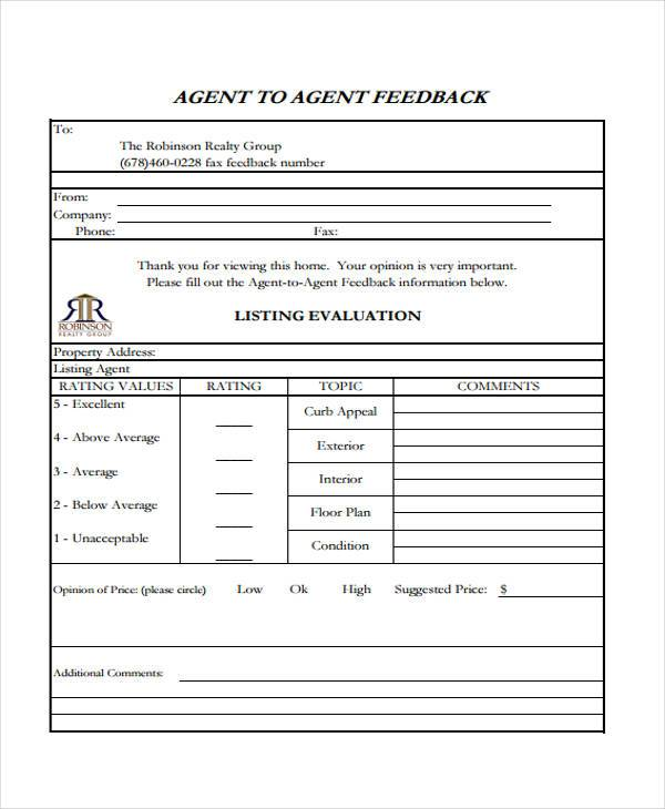 real estate agent feedback form