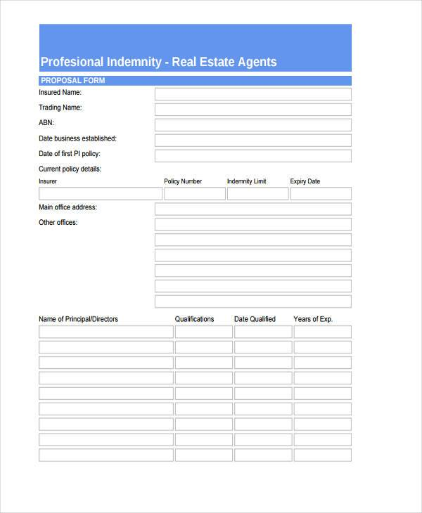 real estate agents professional indemnity proposal form