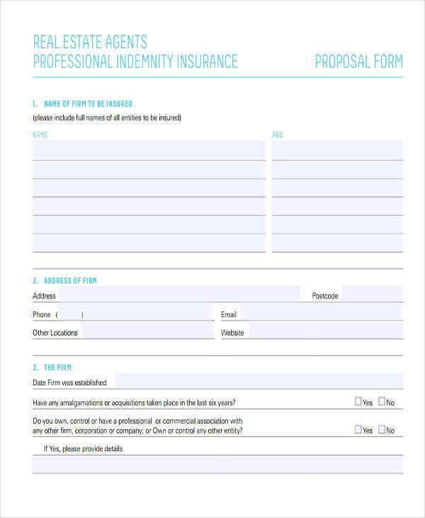 real estate agents proposal form