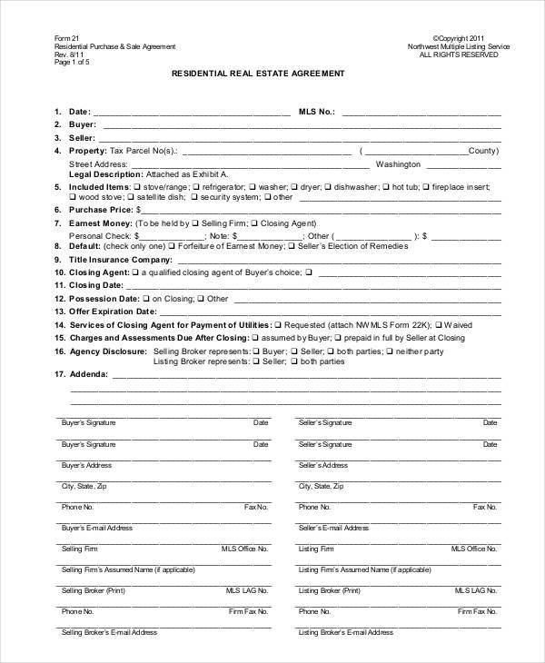 real estate agreement release form