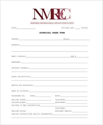 real estate appraisal order form