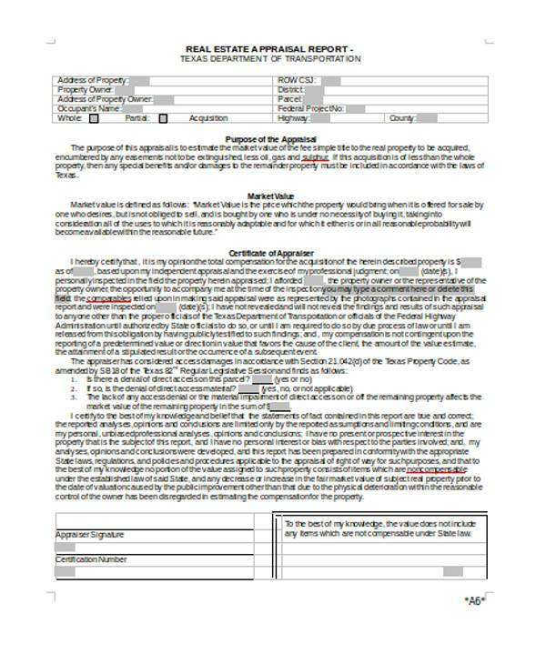 real estate appraisal report form1