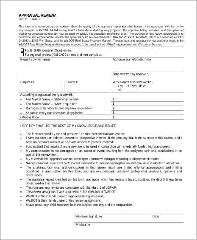 real estate appraisal review form