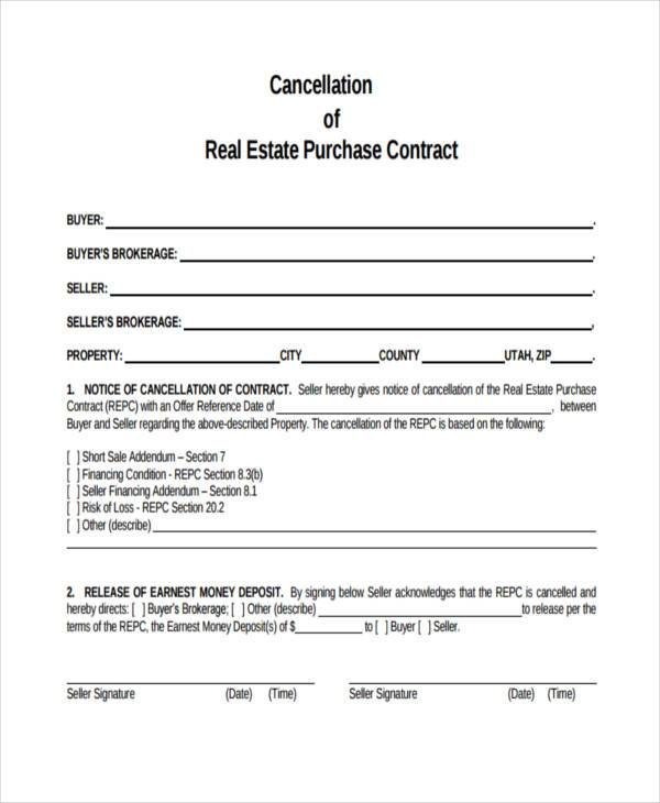 real estate cancellation of contract form