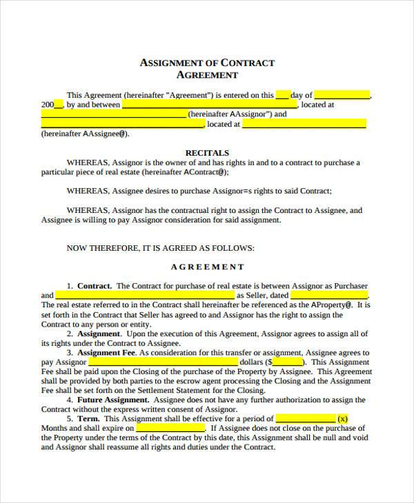 Assignment Agreement University Assignment Agreement Sample