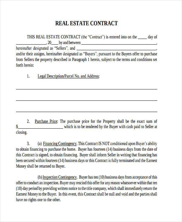 real estate contract form pdf