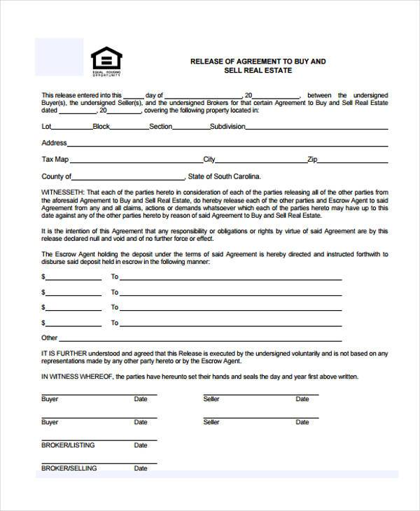 Real Estate Release Form Samples  Free Sample Example Format