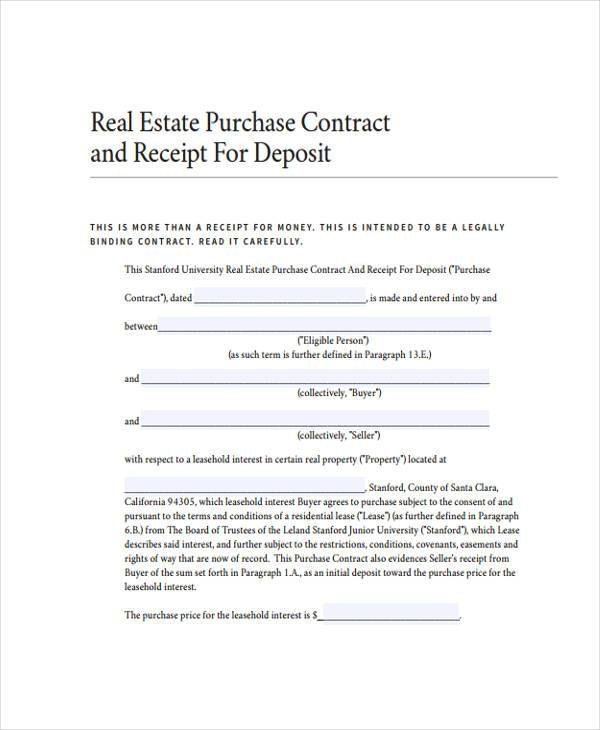 real estate deposit receipt form