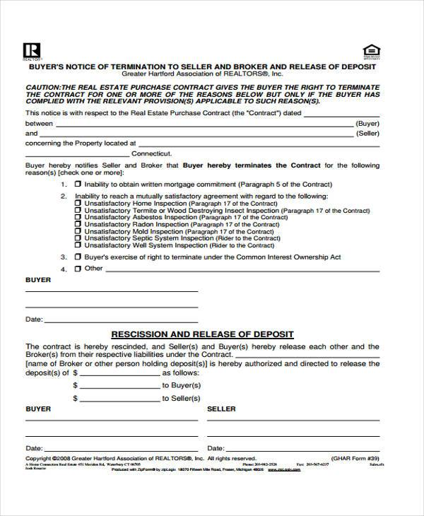 real estate deposit release form