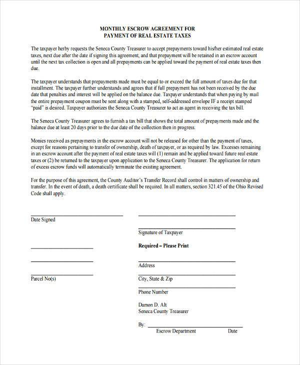 Escrow Agreement Form Choice Image Agreement Letter Format