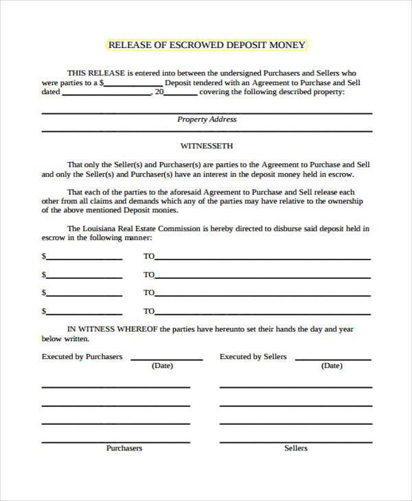 real estate escrow release form