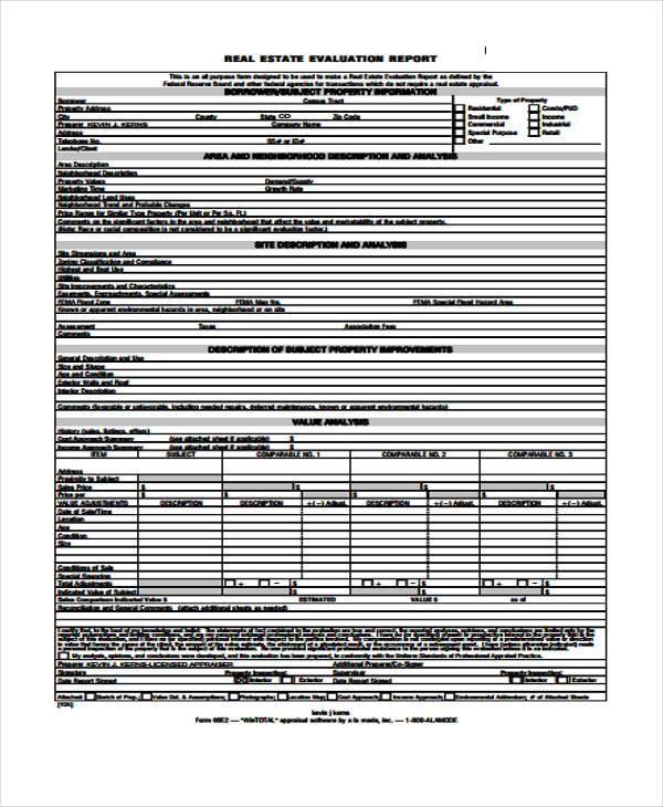 real estate evaluation report form