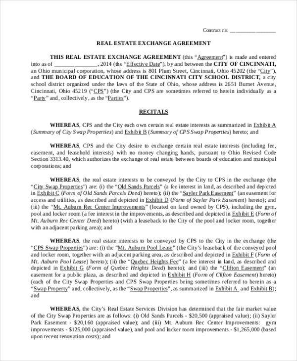 real estate exchange agreement form1