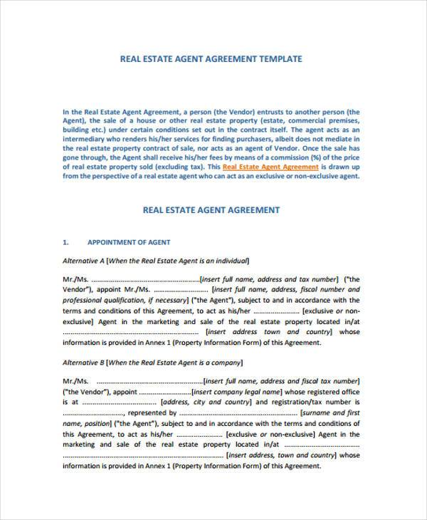 real estate exclusive agency agreement form1