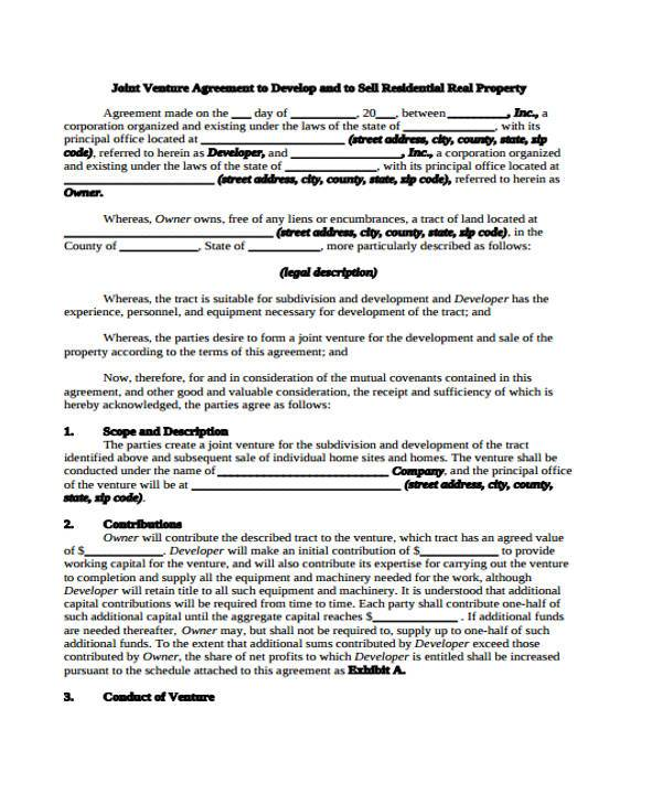 Real Estate Joint Venture Agreement Form  Joint Venture Agreements Sample
