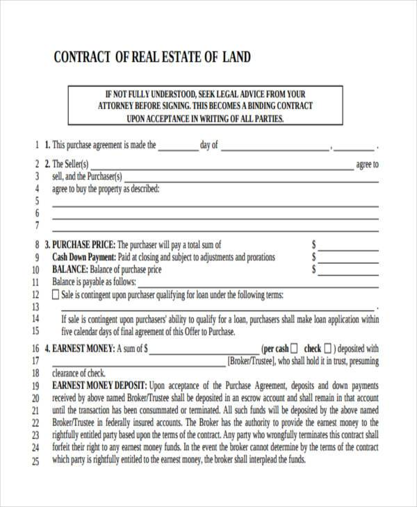Real Estate Contract Form Samples  Free Sample Example Format