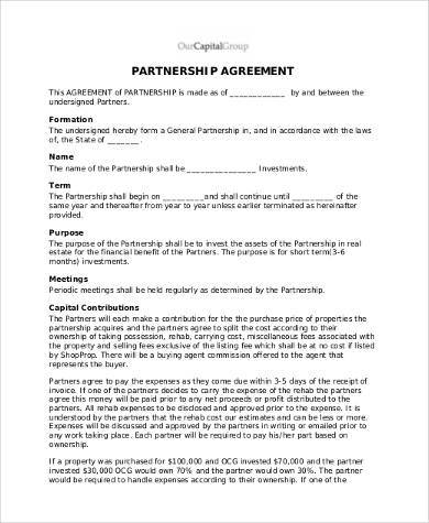 Partnership Agreement Form  Partnership Agreement Template Us