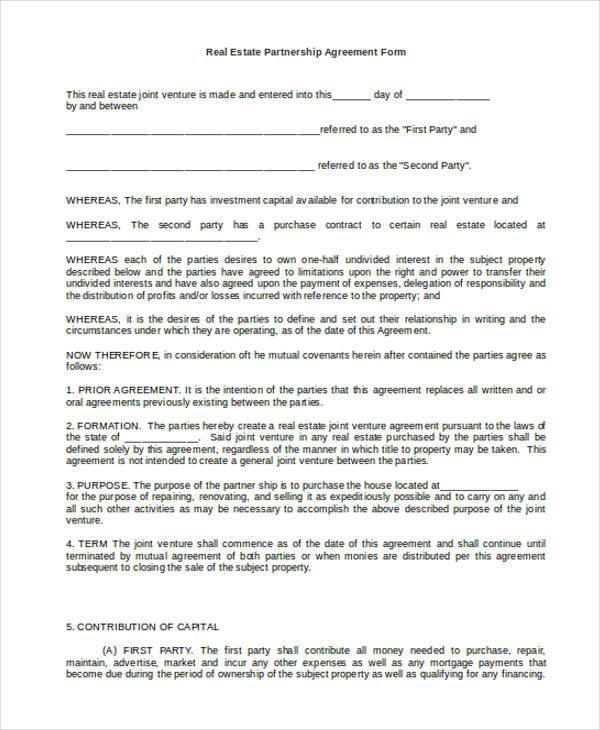 Sample Partnership Agreement Real Estate Partnership Agreement Form