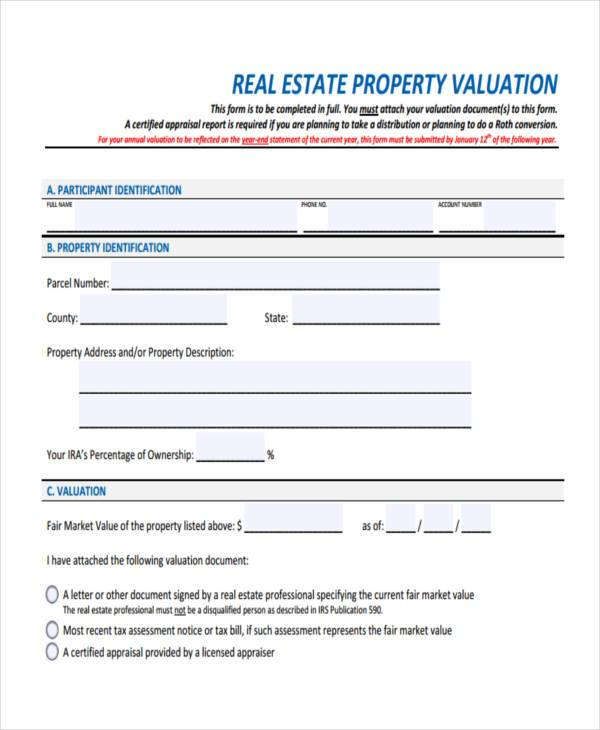 Sample Property Evaluation Forms   Free Documents In Word Pdf