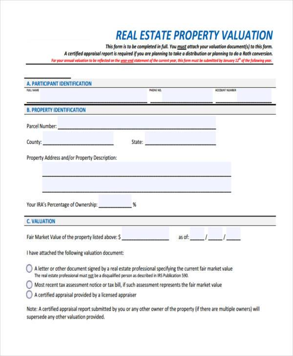 Property Evaluation Form Samples  Free Sample Example Format