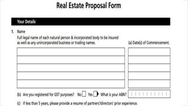 7 Real Estate Proposal Form Samples Free Sample Example Format