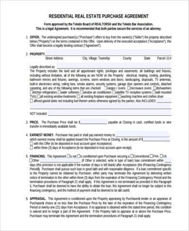 real estate purchase agreement form1