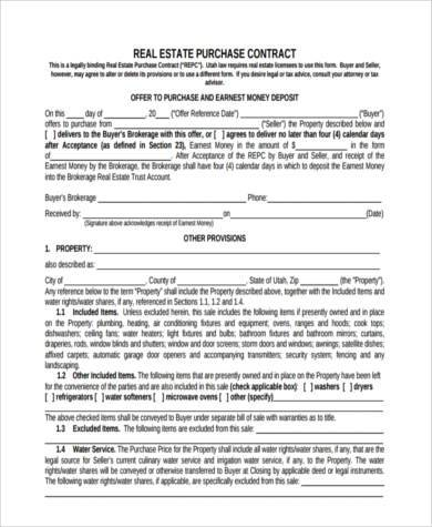 real estate purchase contract form