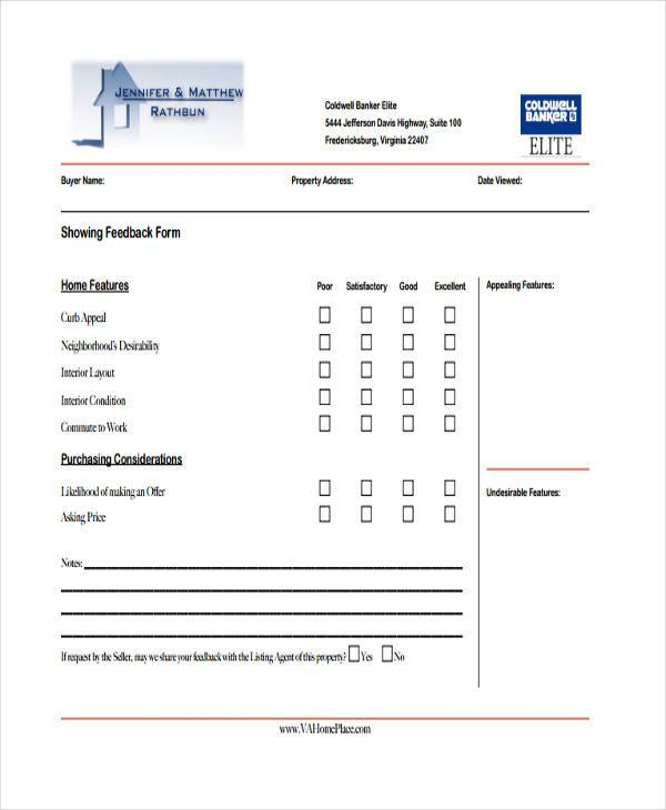 real estate showing feedback form sample1