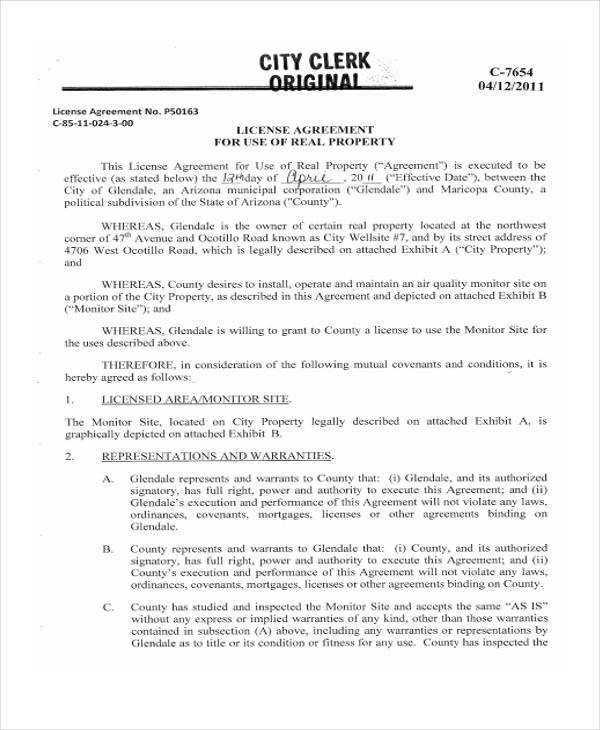 real property license agreement form