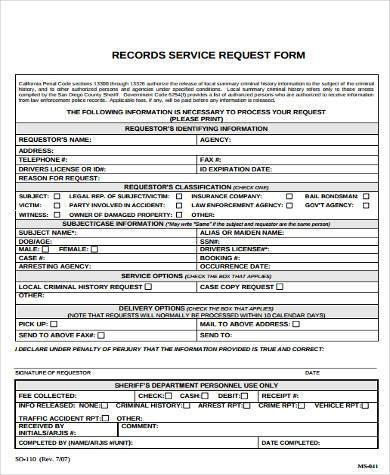 records service request form